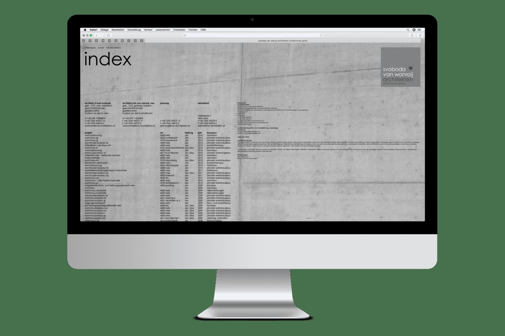 """""""alte"""" Webseite von SVW Architekten"""