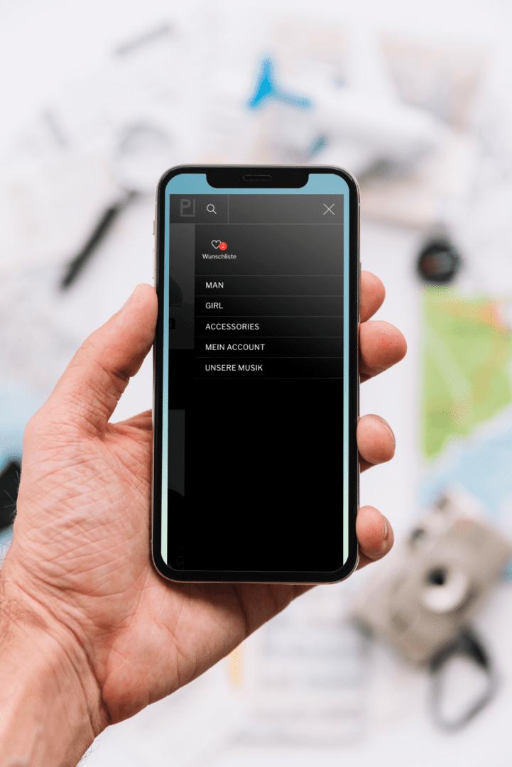 Pioniere Webshop, Menü, Responsive, iPhone X