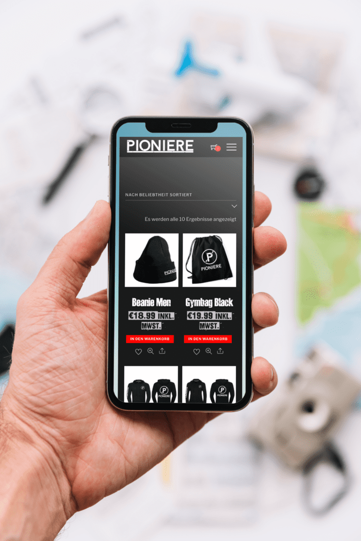 Pioniere Webshop, Shopseite, Responsive, iPhone X
