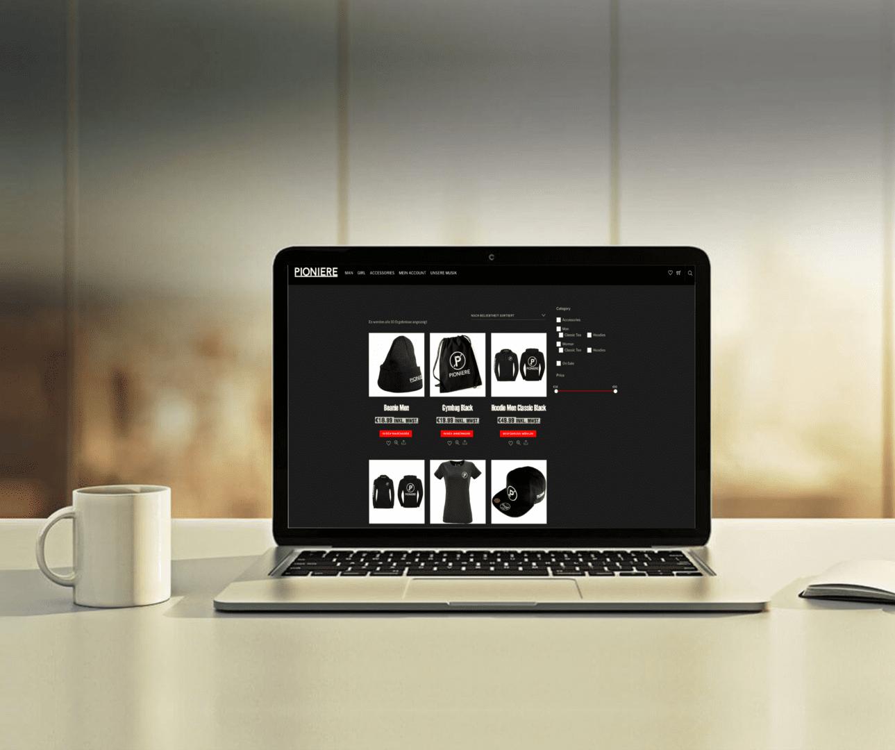Pioniere Webshop, Warenkorb Ajax, Produktseite