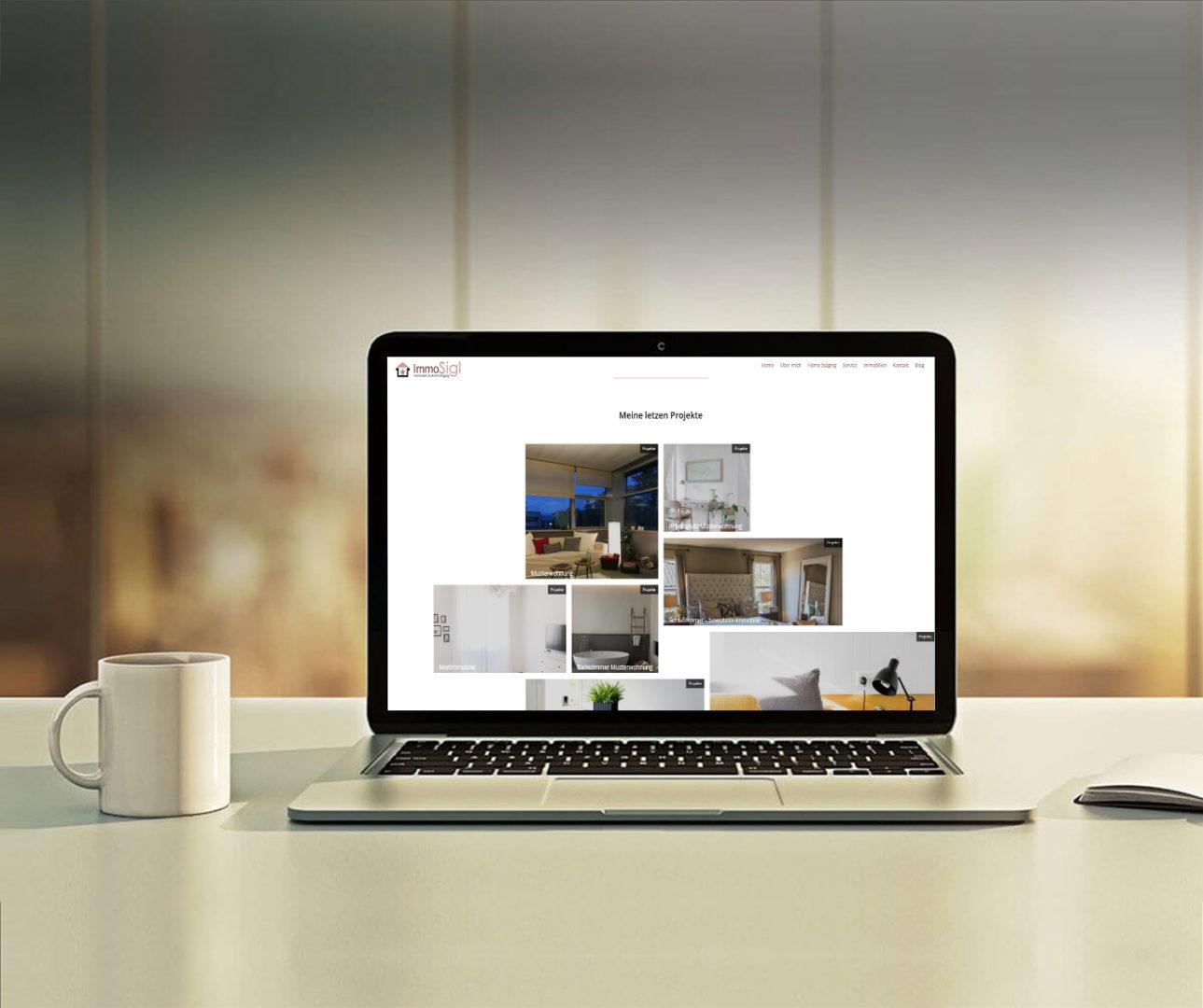 Das Highlight dieses Projektes war die Mosaik Struktur der Projekte und Blog Beiträgen. Dieses Mosaik Design passt perfekt zum Thema Home Staging und Interior und macht die Webseite frisch und lebendig.