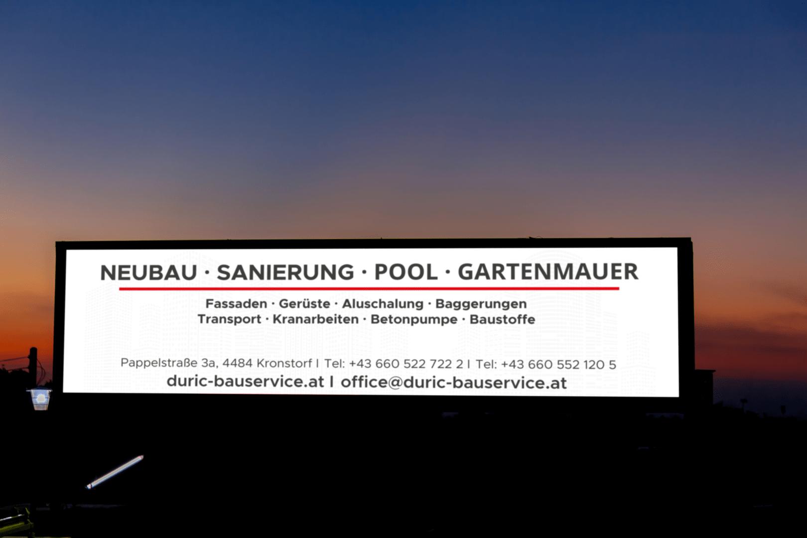 Duric Bauservice, Kronstorf, Lichtwerbung, Unternehmensdienstleistungen